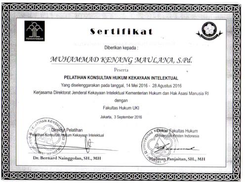 sertifikat konsultan hki terdaftar